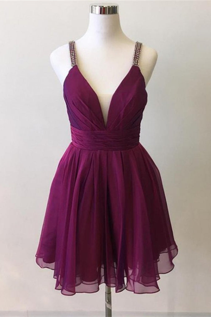 Cute V Neck Purple Chiffon Short Prom Dresses Homecoming Dresses, V Neck  Purple Formal Dresses, Purple Evening Dresses Cocktail Dresses