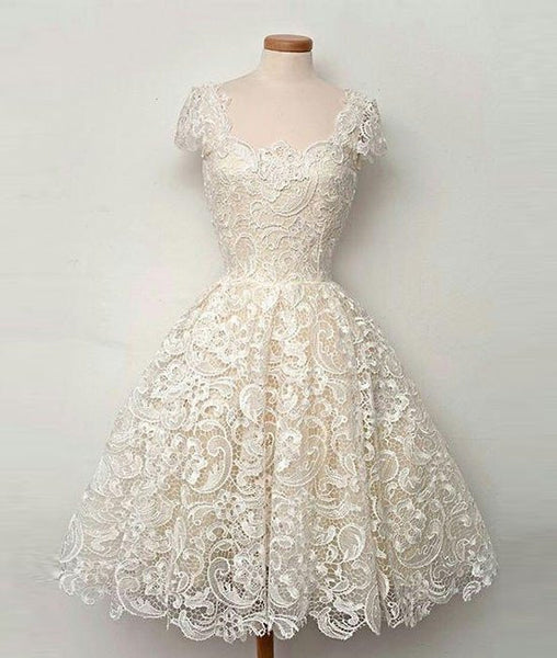 Cute White Short Lace Prom Dresses, Short Formal Dresses, Lace Evening Dresses
