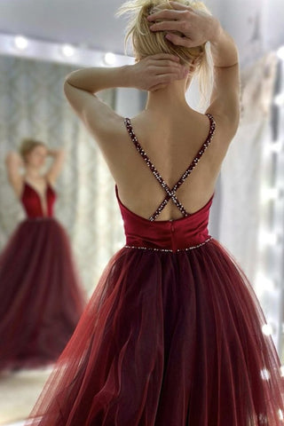 Deep V Neck Backless Burgundy Tulle Long Prom Dress, V Neck Burgundy Formal Dress, Burgundy Evening Dress