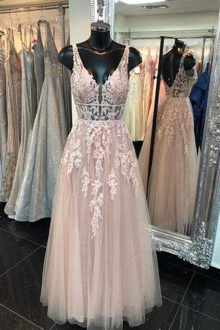 Deep V Neck Backless Pink Lace Long Prom Dress, Long Pink Lace Formal Graduation Evening Dress