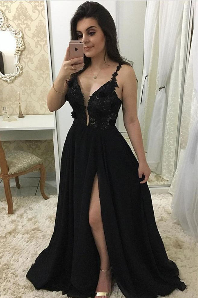Deep V Neck Black Lace Long Prom Dress with Slit, Black Lace Formal Graduation Evening Dress