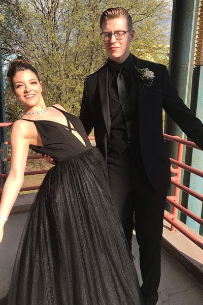 Deep V Neck Black Long Prom Dress, Black Formal Graduation Evening Dress, Fluffy Ball Gown