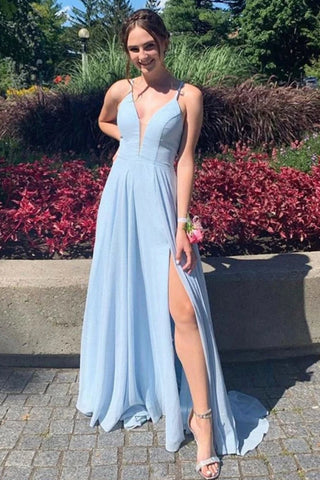 Deep V Neck Open Back Light Blue Long Prom Dress with Slit, Light Blue Formal Graduation Evening Dress