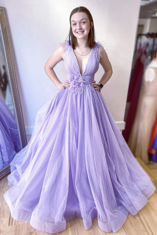 Deep V Neck Purple Tulle Long Prom Dress, Long Lavender Formal Evening Dress