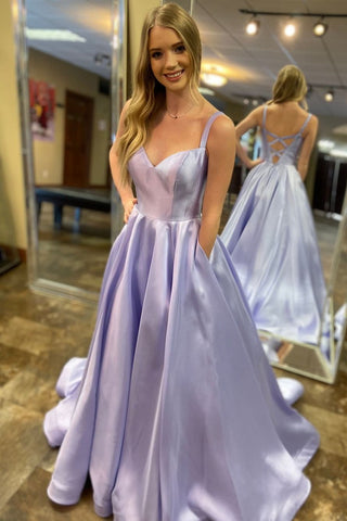 Elegant A-Line Spaghetti Straps Lavender Satin Long Prom Dress with Pockets, Lavender Formal Graduation Evening Dress