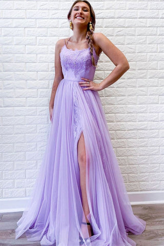 Elegant A Line Spaghetti Straps Purple Lace Long Prom Dress with High Slit, Purple Lace Formal Dress, Purple Evening Dress