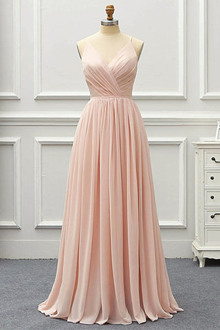 Elegant A Line V Neck Pink Long Prom Dress, Pink Formal Graduation Evening Dress