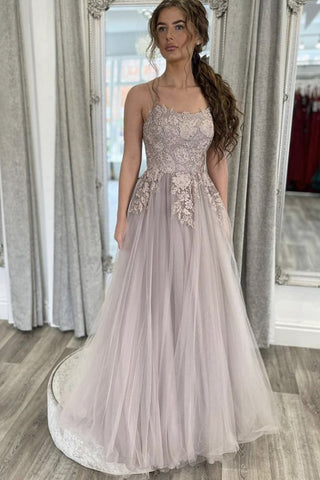 Elegant Backless Gray Lace Long Prom Dress with Thin Straps, Open Back Gray Formal Dress, Gray Lace Evening Dress