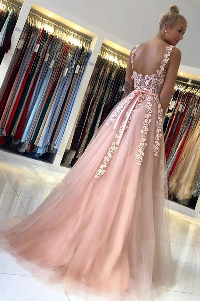 Elegant Backless Long Pink Lace Floral Prom Dress, Pink Lace Formal Graduation Evening Dress