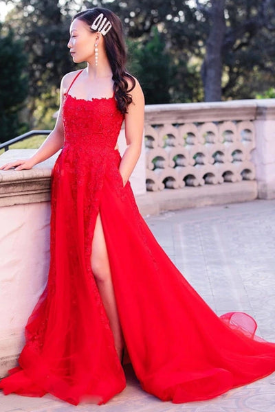 Elegant Backless Red Lace Long Prom Dress with Train, Red Lace Formal Dress, Red Evening Dress