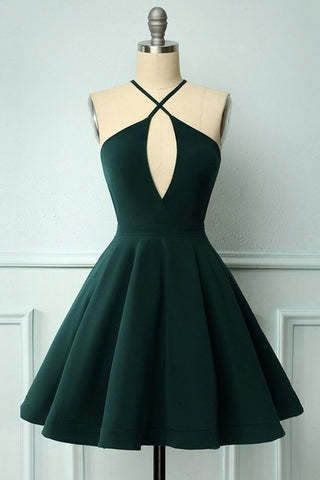 Elegant Halter Neck Dark Green Short Prom Dress, Dark Green Formal Graduation Homecoming Dress