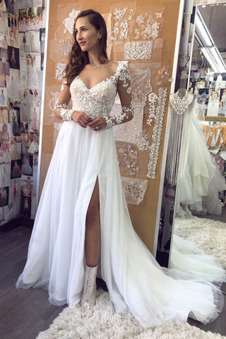 Elegant Long Sleeves White Lace Long Prom Dress, White Lace Wedding Dress, White Formal Evening Dress