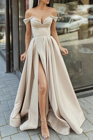 Elegant Off Shoulder Champagne Satin Long Prom Dress, High Slit Champagne Formal Graduation Evening Dress