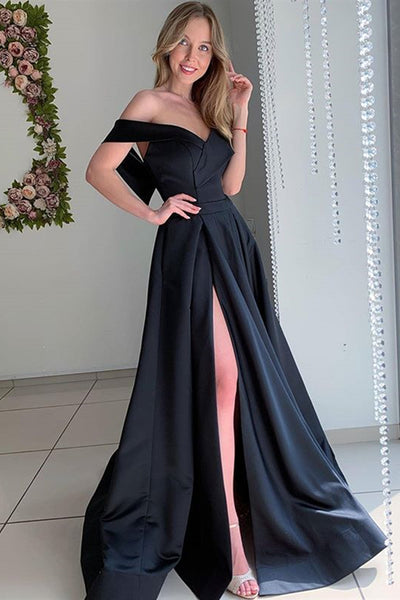 Elegant Off Shoulder Long Black Prom Dress with High Slit, Off the Shoulder Black Formal Dress, Black Evening Dress