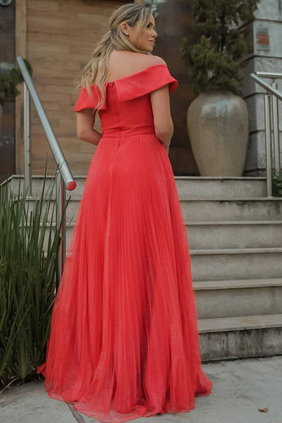 Elegant Off Shoulder Red Tulle Long Prom Dress, Off the Shoulder Red Formal Evening Dress