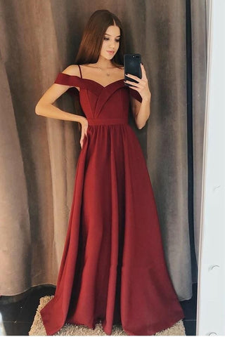 Elegant Off the Shoulder Burgundy Satin Long Prom Dress, Off Shoulder Burgundy Formal Graduation Evening Dress