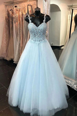 Elegant Spaghetti Straps Backless Long Blue Lace Prom Dress, Backless Blue Lace Formal Graduation Evening Dress