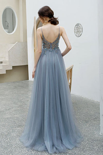 Elegant V Neck Backless Grey Long Beaded Prom Dress with Slit, Backless Grey Beaded Formal Graduation Evening Dress