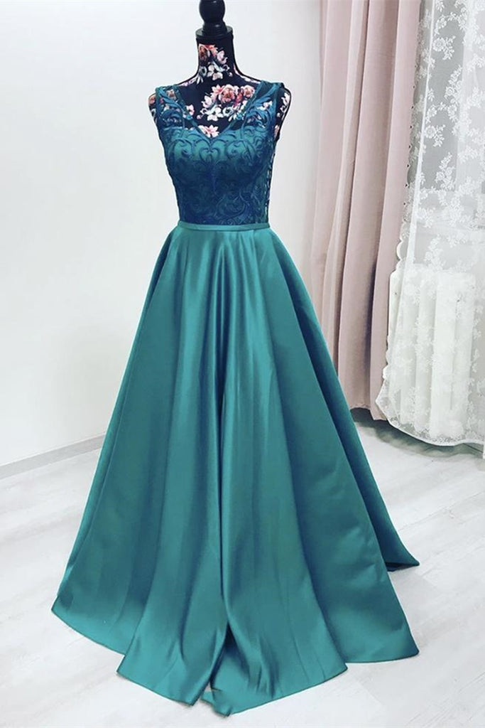 Elegant V Neck Green Lace Long Prom Dress, Green Lace Formal Graduation Evening Dress