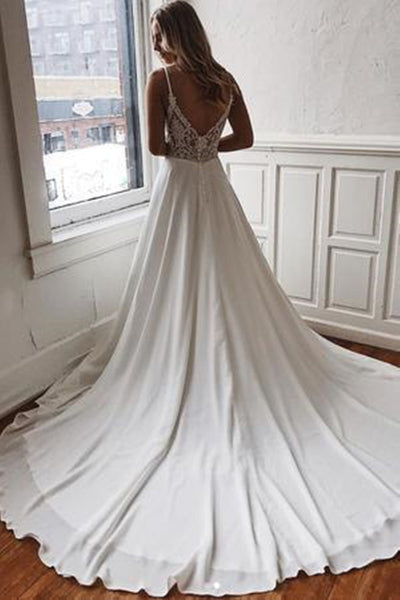 Elegant V Neck White Satin Long Wedding Dress with Lace Back, V Neck White Prom Formal Evening Dress