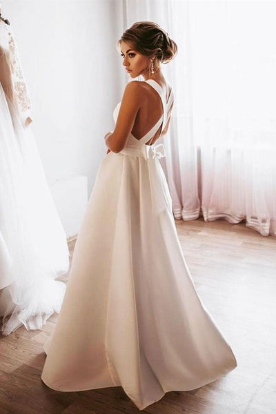 Elegant White Satin Long Prom Dress, Long White Formal Graduation Evening Dress