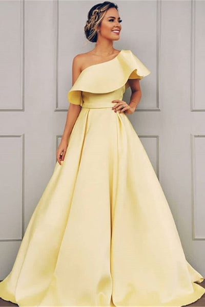 Elegant A Line One Shoulder Floor Length Yellow Satin Long Prom Dresses, Yellow Formal Dresses, Evening Dresses