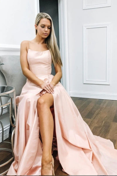Elegant A Line Satin Long Pink Prom Dress with High Slit, Simple Pink Formal Graduation Evening Dress