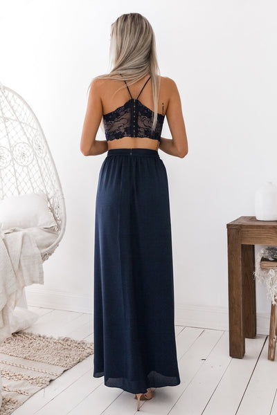 Elegant A Line V Neck Two Pieces Navy Blue Lace Prom Dress with Slit, 2 Pieces Lace Navy Blue Formal Dress, 2 Pieces Navy Blue Evening Dress