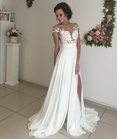 Elegant Lace Wedding Dresses, Beach Wedding Gown, Sexy See Through Prom Dresses, Prom Dresses