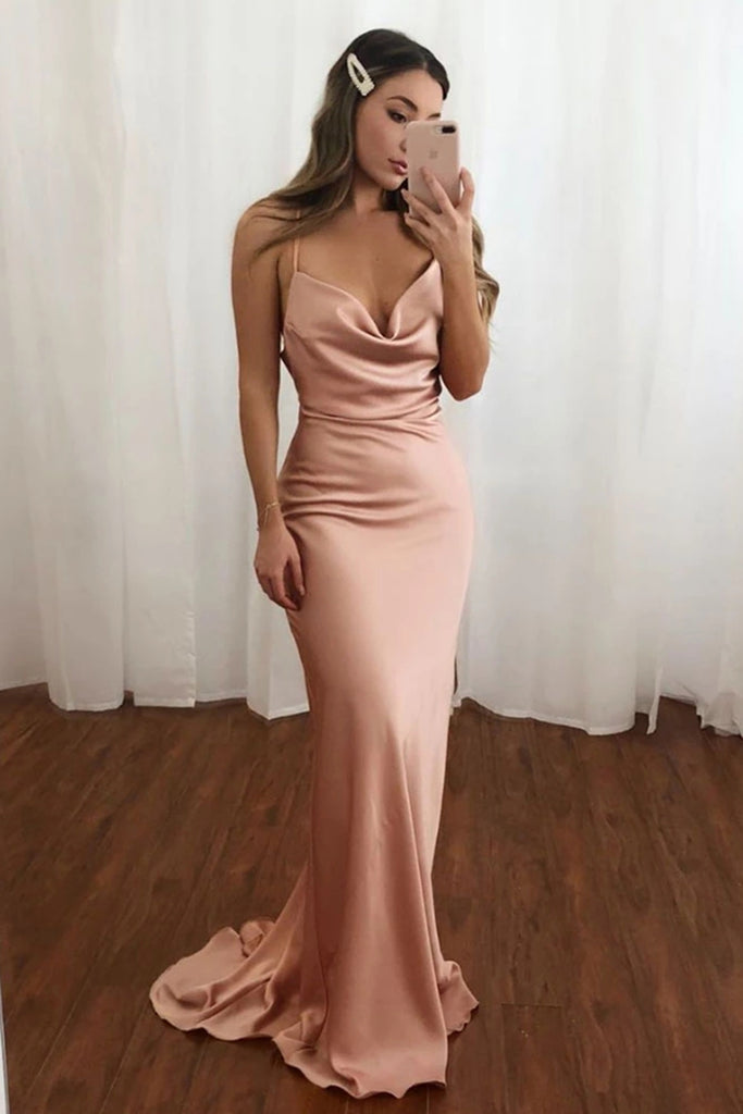 Elegant Mermaid Pink Long Prom Dress, Pink Mermaid Formal Dress, Mermaid Pink Evening Dress