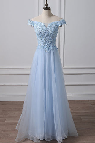 Elegant Off Shoulder Long Sky Blue Lace Prom Dress, Off Shoulder Sky Blue Formal Dress, Sky Blue Lace Evening Dress