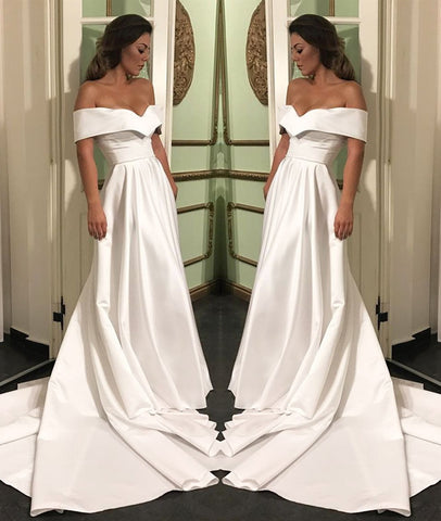 Elegant Off Shoulder White Satin Long Prom Dresses, White Off Shoulder Wedding Dresses, White Formal Dresses