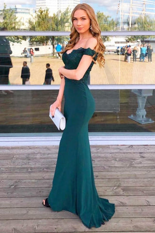 Elegant Off Shoulder mermaid Dark Green Lace Prom Dress, Off Shoulder Dark Green Lace Formal Dress, Dark Green Lace Evening Dress