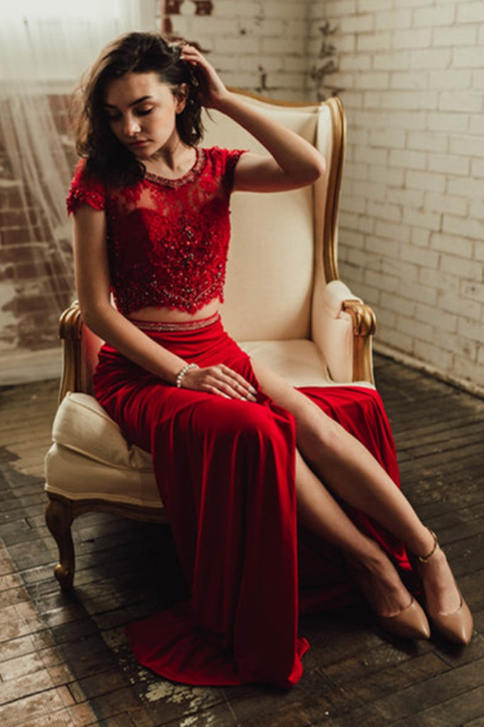 Elegant Round Neck Two Pieces Cap Sleeves Lace Burgundy Prom Dress with High Slit, Two Pieces Lace Burgundy Formal Dress, Burgundy Lace Evening Dress