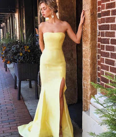 4369416fab Elegant Strapless Mermaid Yellow Satin Long Prom Dresses with Leg Slit