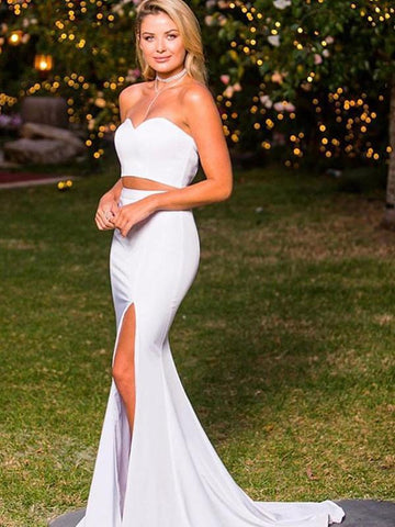 Elegant Sweetheart Neck Two Pieces Mermaid White Satin Long Prom Dresses with Slit, Two Pieces White Formal Dresses, Evening Dresses 2019