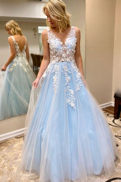 Elegant V Neck Open Back White Lace Appliques Blue Long Prom Dress, V Neck Lace Blue Formal Dress, Lace Blue Evening Dress