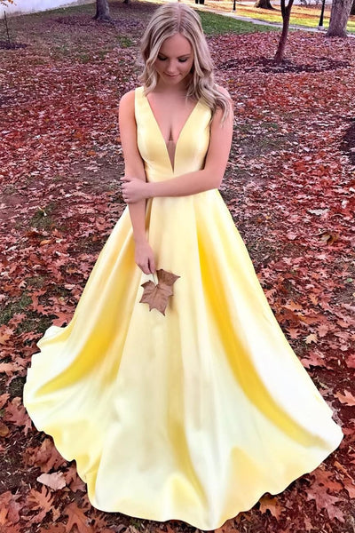 Elegant V Neck Open Back Yellow Long Prom Dress, Yellow Formal Graduation Evening Dress, Party Dress