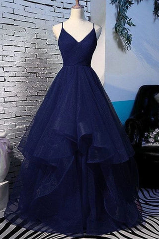 Fluffy V Neck Navy Blue Long Prom Dress with Straps, V Neck Navy Blue Formal Dress, Navy Blue Evening Dress