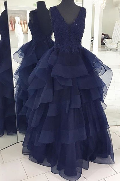 Fluffy V Neck Backless Navy Blue Lace Long Prom Dress, Open Back Navy Blue Lace Formal Dress, Navy Blue Lace Evening Dress, Ball Gown