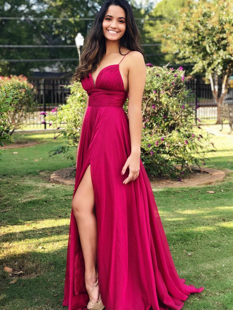 Fuchsia A Line Spaghetti Straps Chiffon Long Prom Dresses with Side Split, Fuchsia Formal Dresses, Cheap Evening Dresses 2019