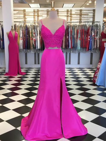 Fuchsia V Neck Two Pieces Mermaid Lace Top Satin Long Prom Dress with Slit, Mermaid Lace Fuchsia Formal Graduation Evening Dresses