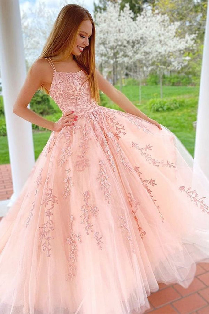 Gorgeous A Line Long Pink Lace Prom Dress with Straps, Pink Lace Formal Graduation Evening Dress