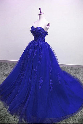 Gorgeous Blue Lace Floral Long Prom Dress, Blue Appliques Formal Evening Dress, Blue Ball Gown