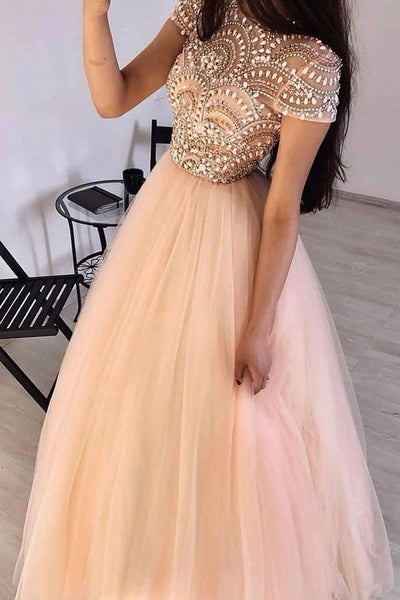 Gorgeous Cap Sleeves Round Neck Pink Beaded Long Prom Dress, Cap Sleeves Pink Formal Dress, Pink Beaded Evening Dress