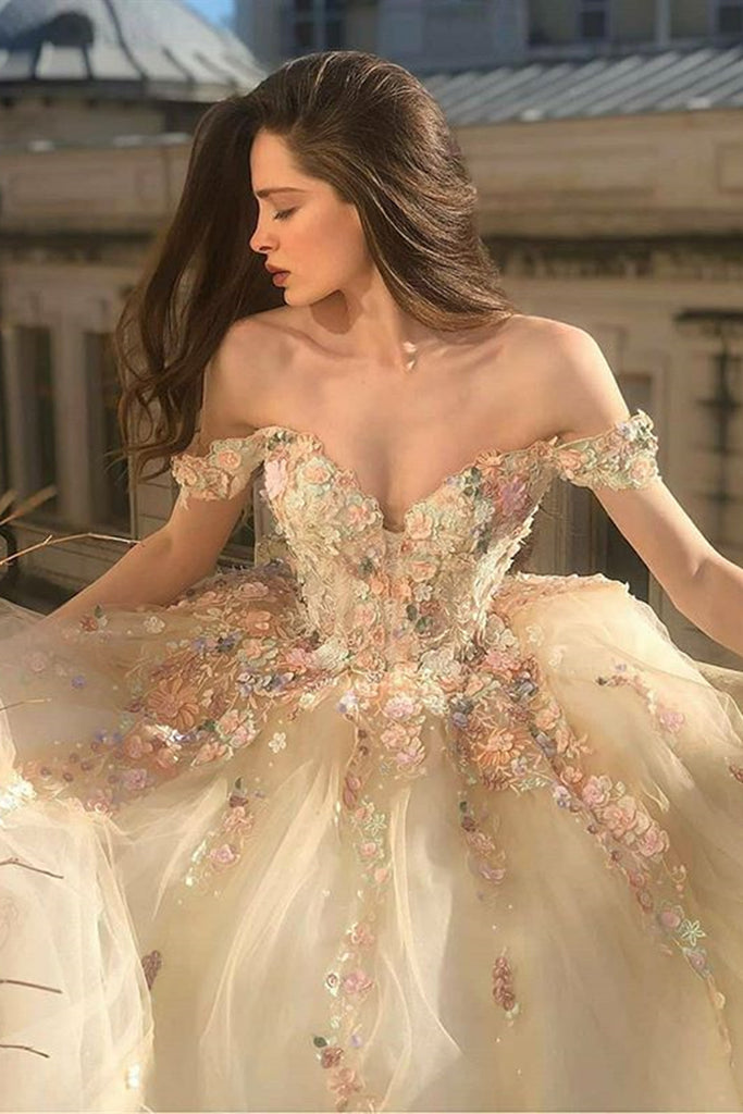 Gorgeous Off Shoulder Champagne Lace Floral Prom Dress, Long 3D Flower Champagne Formal Evening Dress, Champagne Ball Gown
