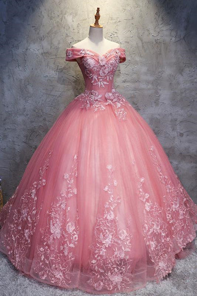 Gorgeous Off the Shoulder Pink Lace Appliques Long Prom Dress, Off Shoulder Pink Formal Dress, Pink Evening Dress, Ball Gown
