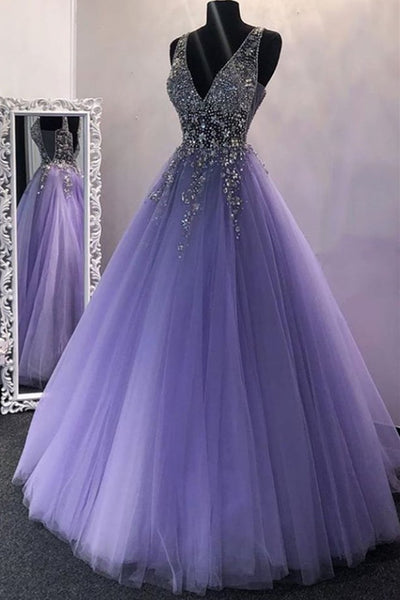 Gorgeous V Neck Beaded Purple Tulle Long Prom Dress, V Neck Purple Formal Evening Dress, Purple Ball Gown