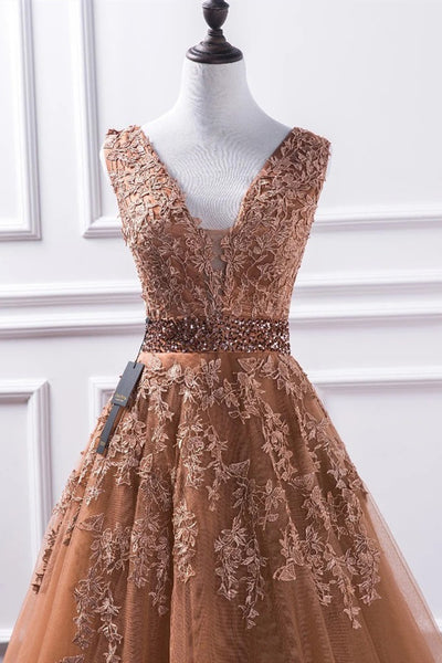 Gorgeous V Neck Champagne Lace Long Prom Dress, Champagne Lace Formal Graduation Evening Dress