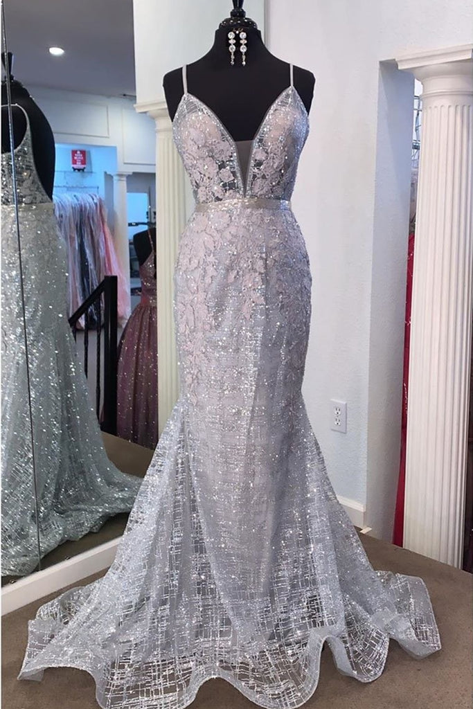 Gorgeous V Neck Mermaid Backless Silver Gray Prom Dress, Mermaid Silver Gray Formal Dress, Backless Silver Gray Evening Dress